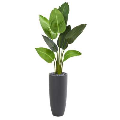 Indoor 5.5 ft. Traveler's Palm Artificial Tree in Gray Planter - Fiddle + Bloom