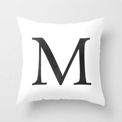 Letter M Initial Monogram Black and White Throw Pillow - Society6