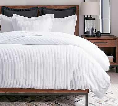 Stripe Matelasse Cotton Duvet Cover, Full/Queen, White - Pottery Barn