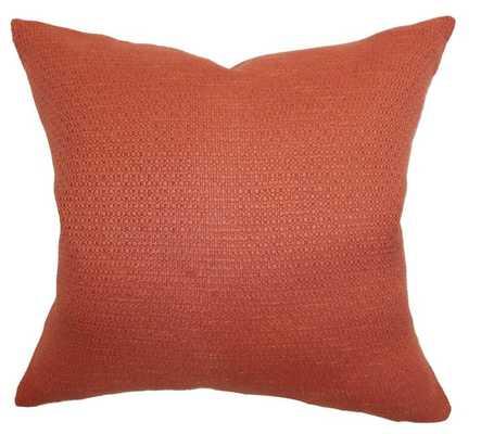 Iduna Solid Pillow Rust - 12x18 - Down Insert - Linen & Seam