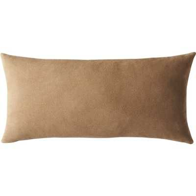 """23""""X11"""" SUEDE CAMEL TAN PILLOW WITH FEATHER-DOWN INSERT - CB2"""