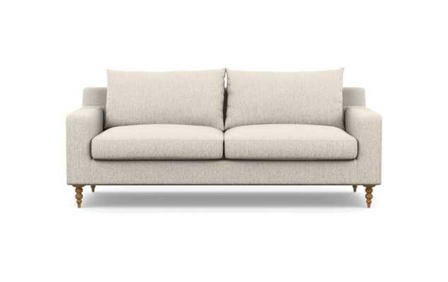 Sloan Fabric Sofa in Wheat with Natural Oak Tapered Turned Wood Legs - Interior Define