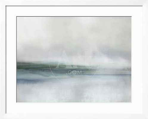 "Stillness in Aqua I 42"" x 34"" Gramercy White Frame - art.com"