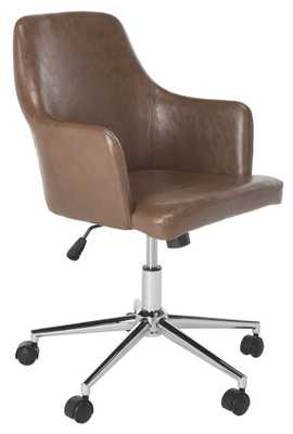 Cadence Swivel Office Chair - Brown/Chrome - Arlo Home - Arlo Home
