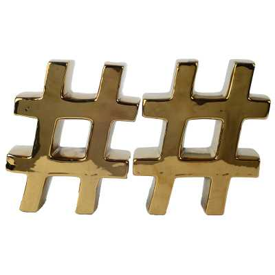 Gold Hashtag Bookends (Set of 2) - Wayfair