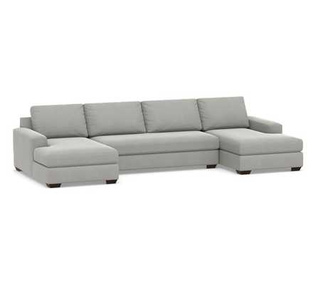 Big Sur Square Arm Upholstered U-Chaise Sofa Sectional with Bench Cushion, Down Blend Wrapped Cushions, Sunbrella(R) Performance Chenille Fog - Pottery Barn