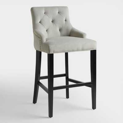 Tufted Lydia Upholstered Barstool in Dove Gray Velvet - World Market/Cost Plus
