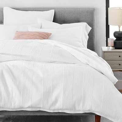 Jersey Linear Duvet & Standard Sham, Stone White, Full/Queen - West Elm
