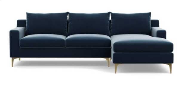 SLOAN Sectional Sofa with Right Chaise in Sapphire with brass legs - Interior Define