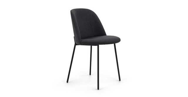 SET OF Ceres Flint Gray and Black Dining Chair - Article