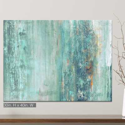 'Abstract Spa' Framed Graphic Art Print on Canvas in Aqua/Blue - AllModern