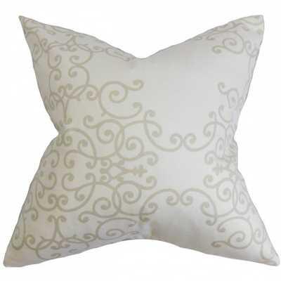 "Fianna Floral Pillow White Birch, 20"" with Down insert - Linen & Seam"