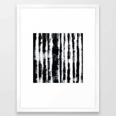 Tie-Dye Shibori Stripe BW Framed Art Print - Society6