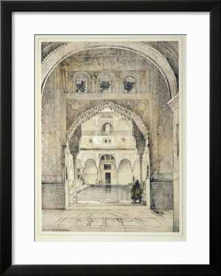 Door of the Hall of Ambassadors, from 'Sketches and Drawings of the Alhambra', engraved by William - 18 x 24 - Soho Black Frame - art.com