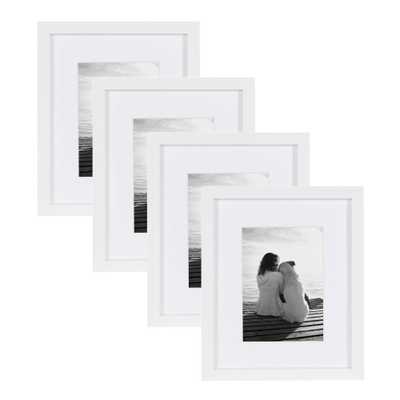 Gallery 8 in. x 10 in. matted to 5 in. x 7 in. White Wood Picture Frame (Set of 4) - Home Depot
