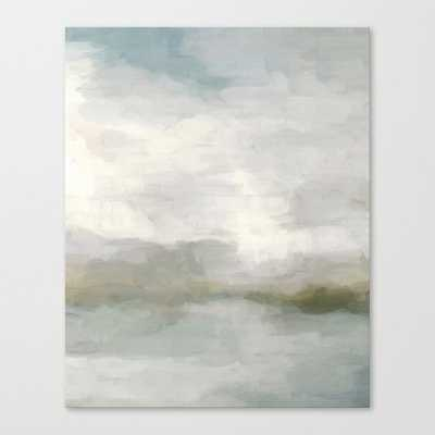 Modern Abstract Painting, Light Teal, Sage Green, Gray Cloudy Weather Digital Prints Wall Art, Ocean Canvas Print - Society6