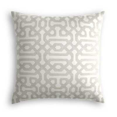 Outdoor Pillow  Sunbrella® Fretwork - Pewter - 22x22 - no trim - polyester insert - Loom Decor
