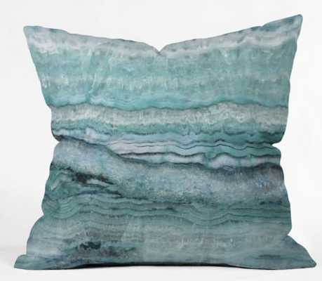 "Mystic Stone Aqua Teal Pillow - 18""x18"" - Wander Print Co."