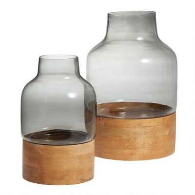 Smoke Gray Glass Vase With Wood Base (small) - World Market/Cost Plus