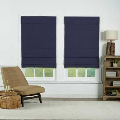Navy Cordless Blackout Energy-Efficient Cotton Roman Shades 21 in. W x 72 in. L - Home Depot