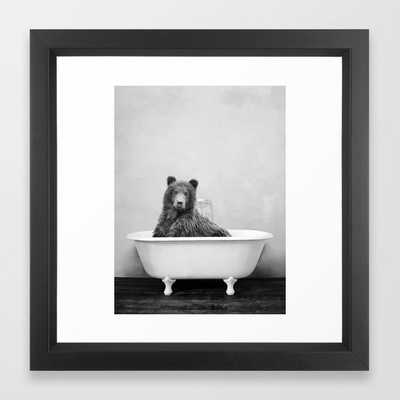 Brown Bear Bathtub Framed Art Print - Society6