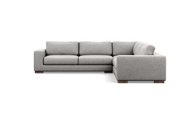 Henry Sectionals with Corner Sectionals in Earth Fabric with Oiled Walnut Wood L Leg - Interior Define