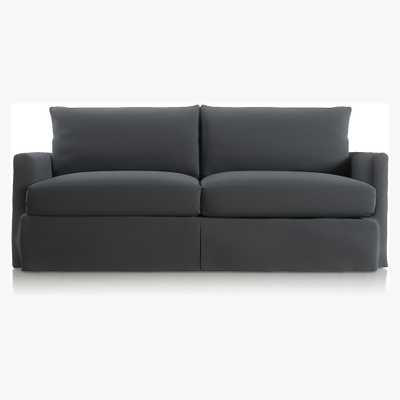 """Lounge II Petite Outdoor Slipcovered 83"""" Sofa-Canvas, graphite - Crate and Barrel"""