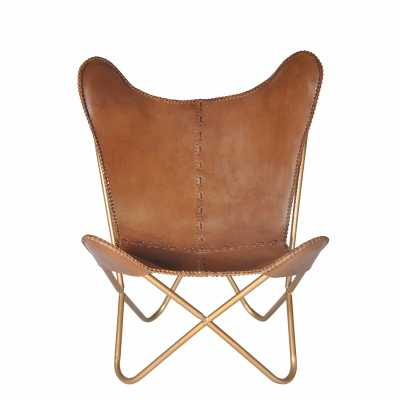Aldo Leather Butterfly Chair - Light Brown & Gold - Wayfair