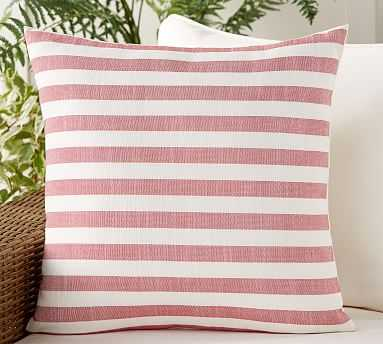 "Outdoor Leandra Rev Stripe Pillow, 22"", Warm Multi - Pottery Barn"