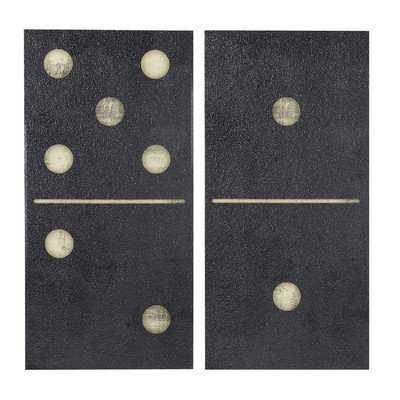 'Two Black Dominos' Framed Graphic Art on Canvas Set - Wayfair