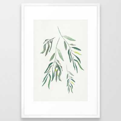 """Eucalyptus Branches II Framed Art Print // Large 26x38"""" // Vector White frame - Society6"""