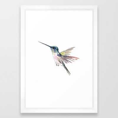 """Flying Little Hummingbird Framed Art Print, Vector White Frame, 15""""x21"""" - Society6"""