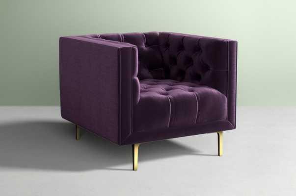 Mina Chair Velvet in  Fig - Anthropologie