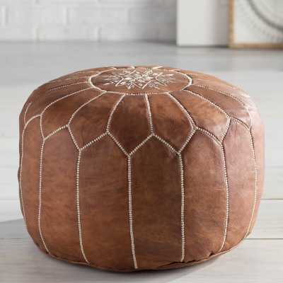 Cherise Genuine Leather Round Pouf - Tan - Wayfair