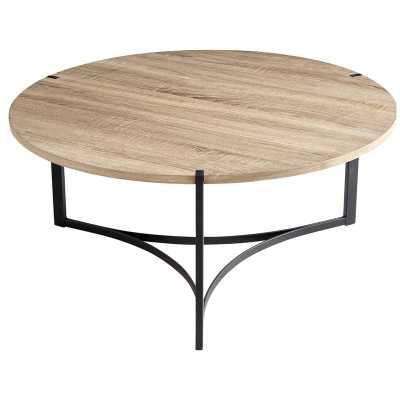 Cyan Design Tri Coffee Table, Oak Veneer/Black - Perigold