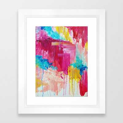 ELATED - Beautiful Bright Colorful Modern Abstract Painting Wild Rainbow Pastel Pink Color Framed Art Print - Society6