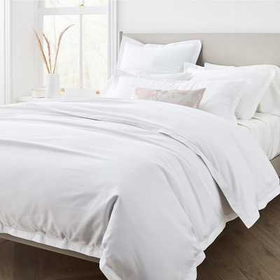 400Tc Sateen Embroidered White, Full/Queen Duvet & Standard Sham Set - West Elm