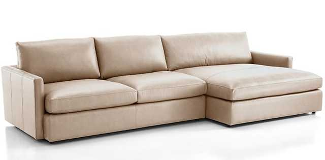 Lounge II Leather 2-Piece Left Arm Double Chaise Sectional Sofa. Lavista, Putty - Crate and Barrel