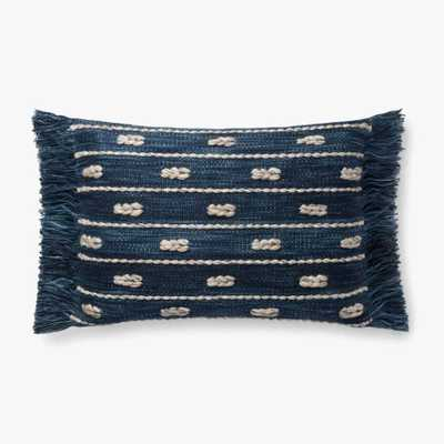 "P4098 Ed Indigo 16"" x 26""  Lumbar Pillow w/ Poly Insert - Loma Threads"
