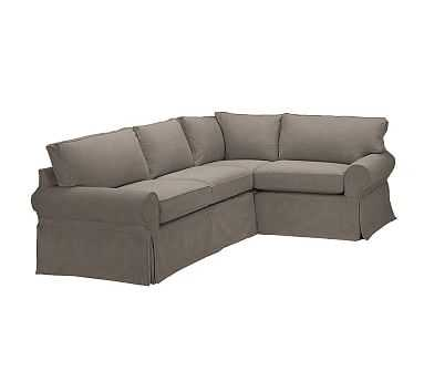 PB Basic Slipcovered Left Arm 3-Piece Corner Sectional, Polyester Wrapped Cushions, Performance Heathered Tweed Graphite - Pottery Barn