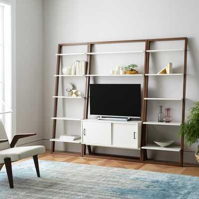 Ladder Shelf Storage Media Set 2: Media Console + 2 X Wide Shelves - White Lacquer/Dark Mindi - West Elm