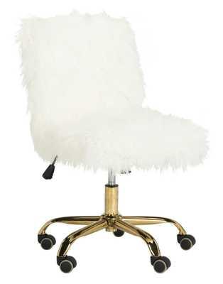 Whitney Faux Sheepskin Gold Leg Swivel Office Chair - White/Gold - Arlo Home - Arlo Home