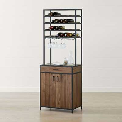 Knox Black Tall Storage Wine Tower - Crate and Barrel