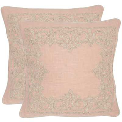 Florentine Embroidered Pillow (2-Pack), Petal - Home Depot