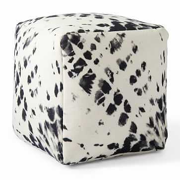 "Outdoor Tie Dye Sun Ray Pouf, 18""x18""x18"", Black + White - West Elm"