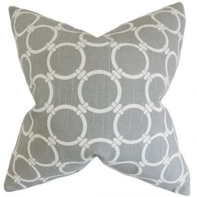Betchet Geometric Pillow Ash,  Down Insert - Linen & Seam