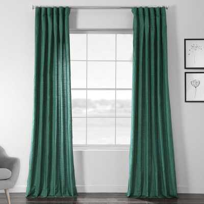 "Designer Chambray Textured Solid Room Darkening Rod Pocket Single Curtain Panel - 50x96"", meadow green - Wayfair"