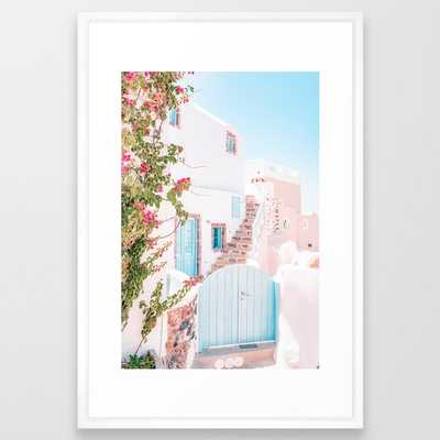 Santorini Greece Mamma Mia Pink House Travel Photography in hd. Framed Art Print by My Beloved Printables - Society6