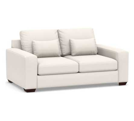 """Big Sur Square Arm Upholstered Deep Seat Loveseat 77"""", Down Blend Wrapped Cushions, Sunbrella(R) Performance Chenille Salt - Pottery Barn"""