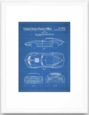 Classic Car Patent - American Car Art - Blueprint Framed Art Print - Society6